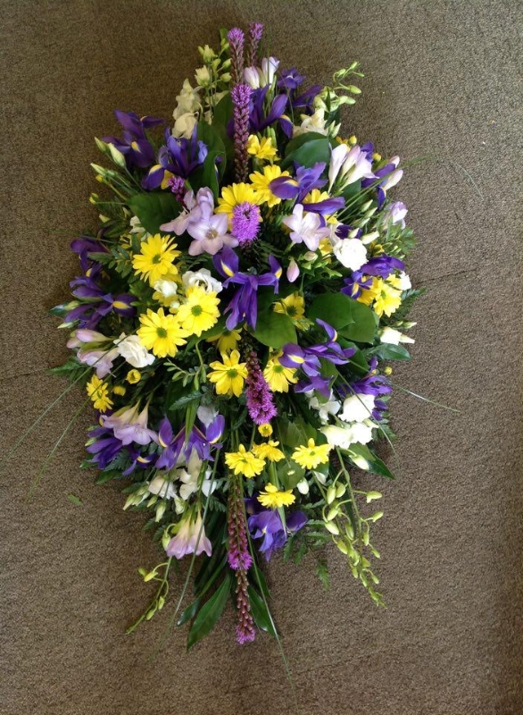 Purple Yellow Lilac And White Coffin Spray Buy Online Or Call 01353 721336